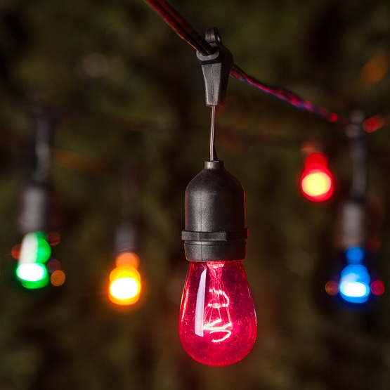 Outdoor String Lights Multicolor : Commercial Patio String Lights, Multicolor S14 Bulbs, Suspended - Yard Envy
