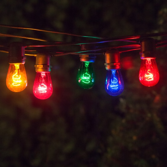 Outdoor String Lights Multicolor : Commercial Patio String Lights, Multicolor S14 Bulbs - Yard Envy