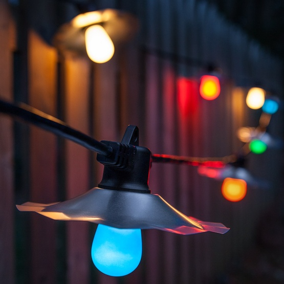 Outdoor String Lights Multicolor : Outdoor Patio String Lights, Multicolor S14 Opaque Bulbs - Yard Envy