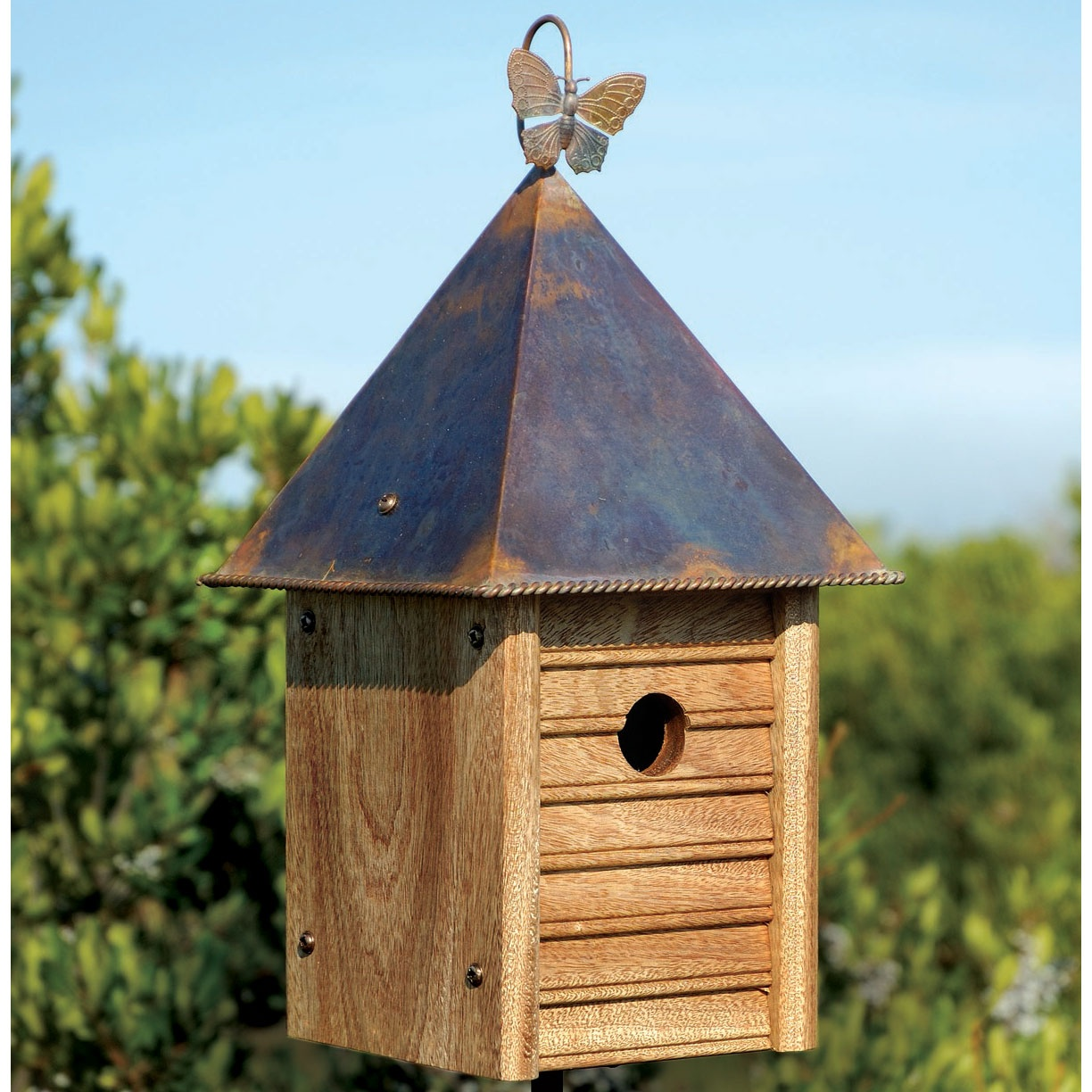 Homestead wooden bird house with copper roof yard envy for Wood house images