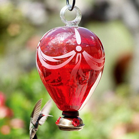 Hot Air Balloon Red Glass Hummingbird Feeder Yard Envy
