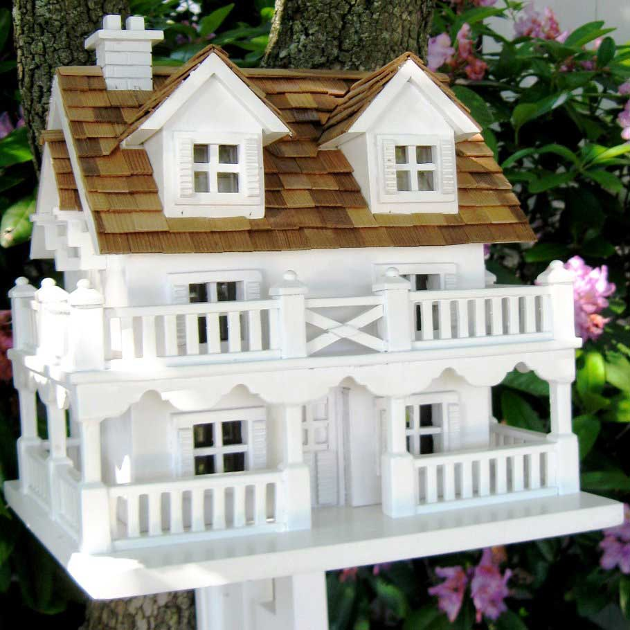 Decorative cape cod bird house with bracket yard envy for Bird home decor