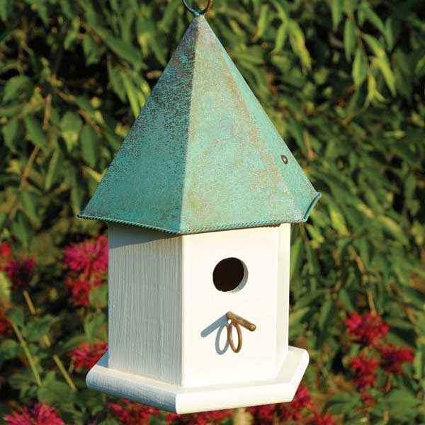 Copper Songbird Hanging Bird House Yard Envy