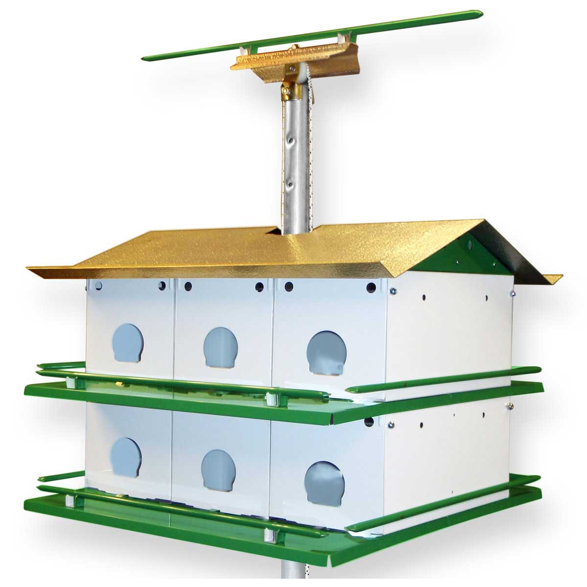 Purple martin bird house safety system with pole yard envy for Martin house designs