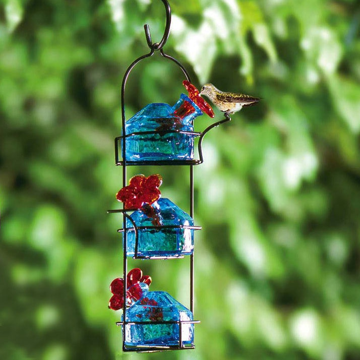 Bouquet Lunch Pail Glass Hummingbird Feeder - Yard Envy