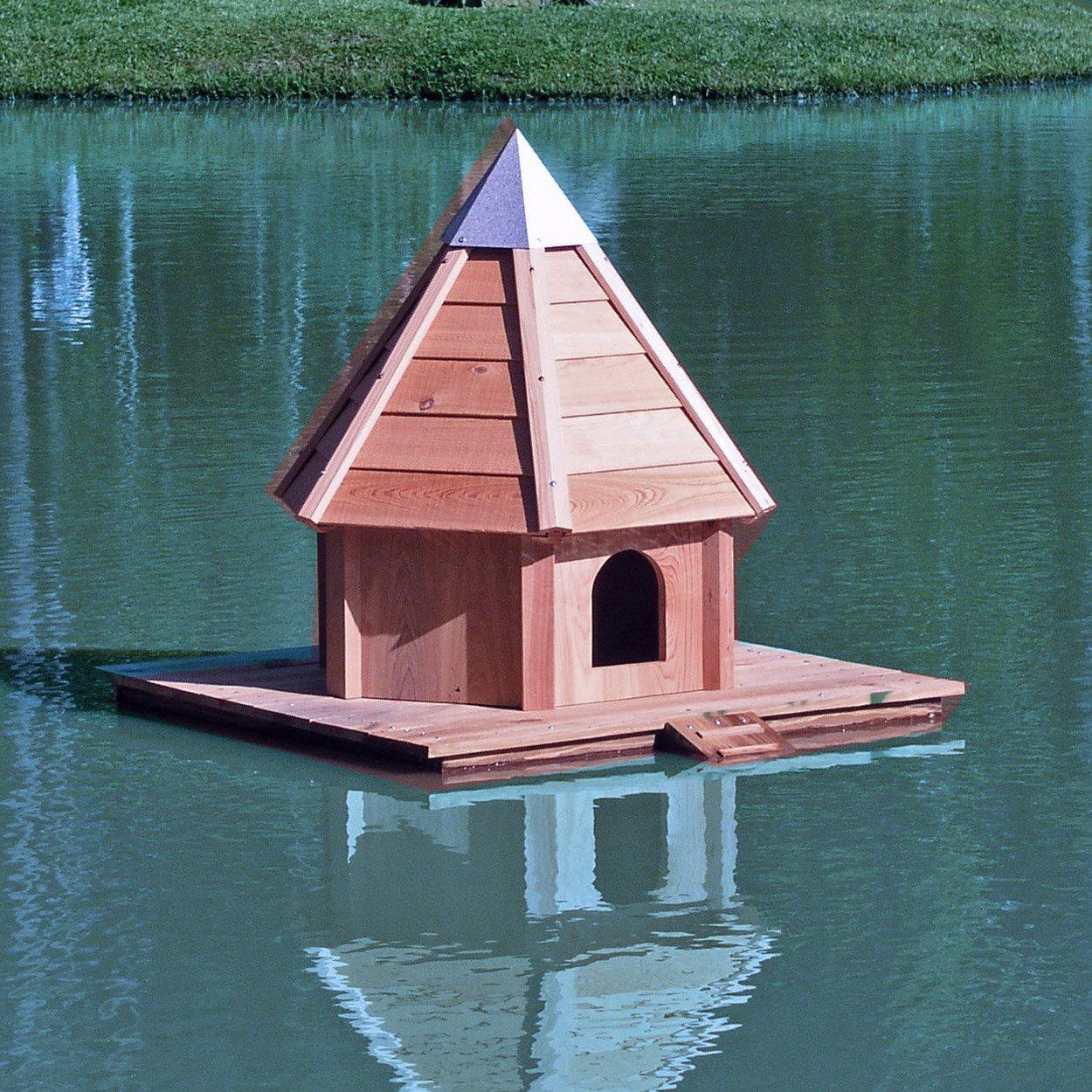 Aqua duck floating bird house yard envy