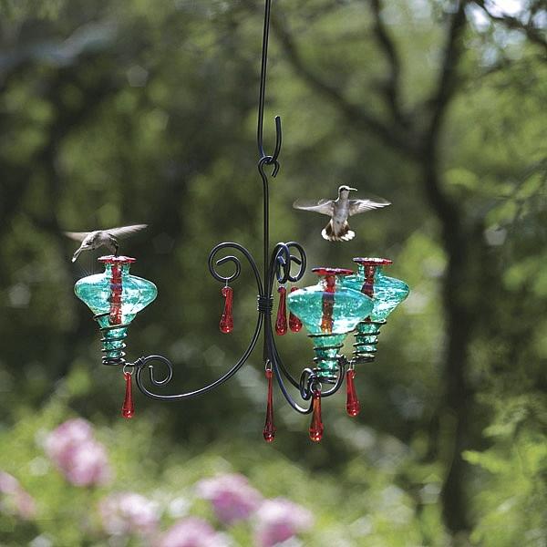 Chandelier Glass Hummingbird Feeder Yard Envy