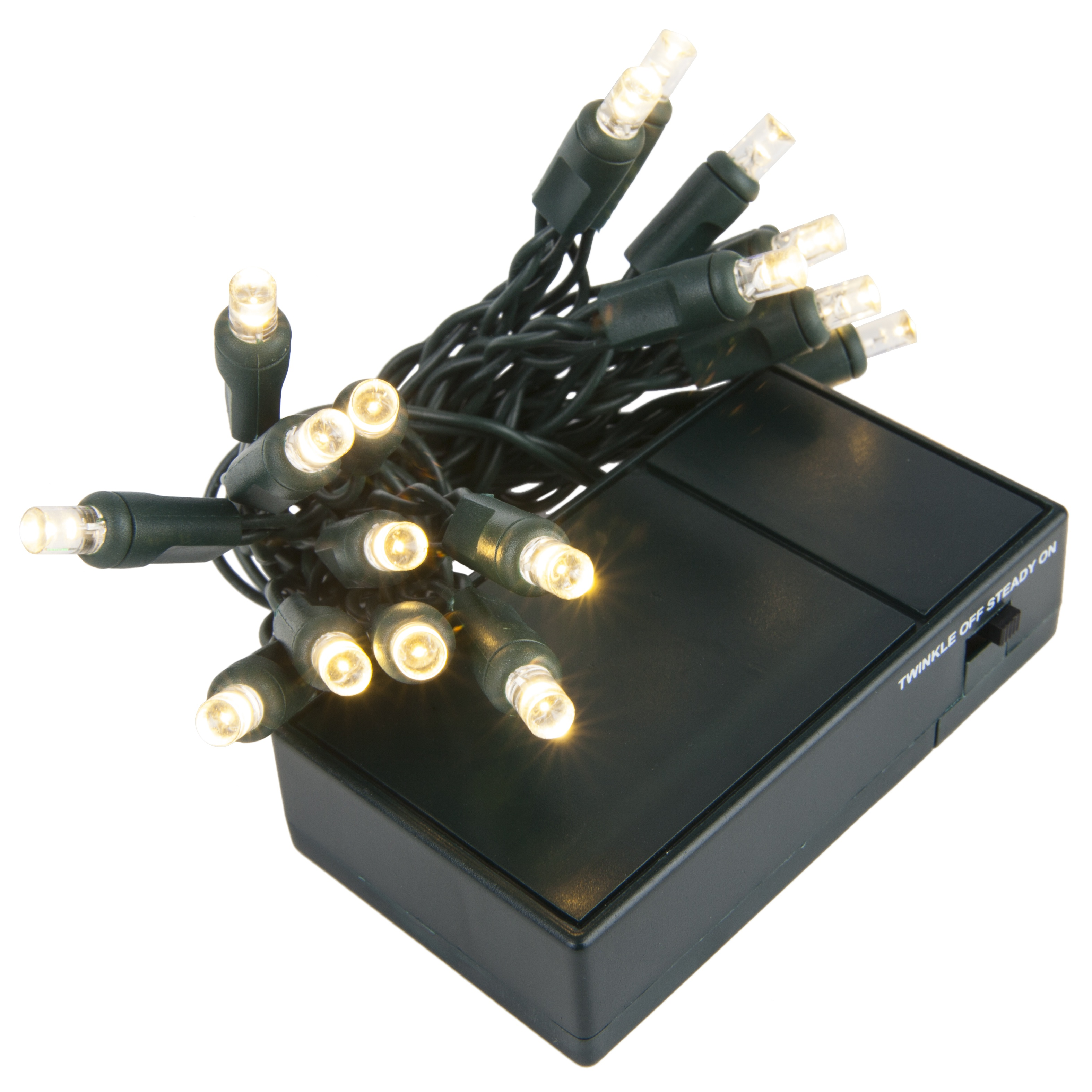 led battery operated lights warm white 5mm bulbs green wire yard. Black Bedroom Furniture Sets. Home Design Ideas