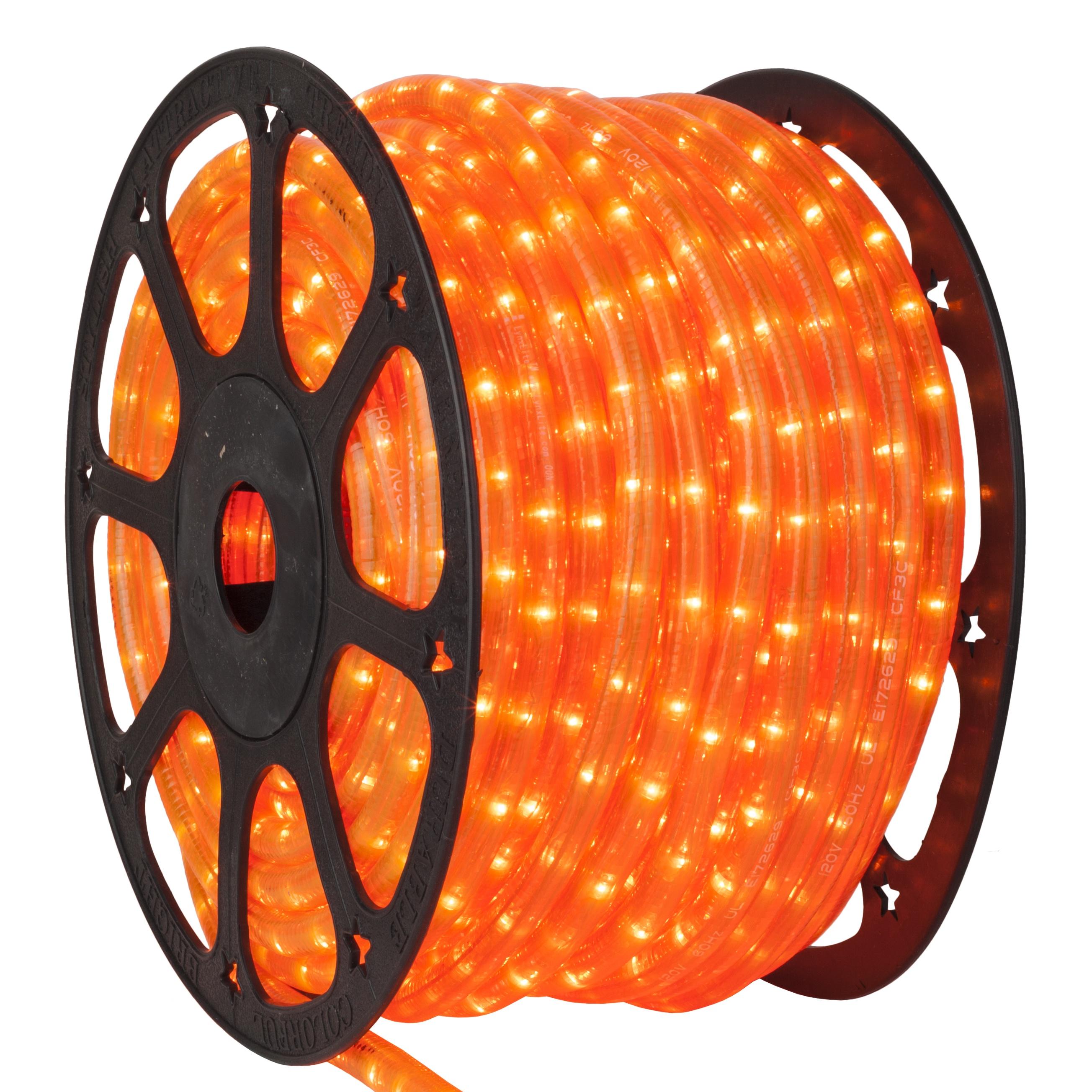 Fluorescent Orange Rope Lights, 120 Volt