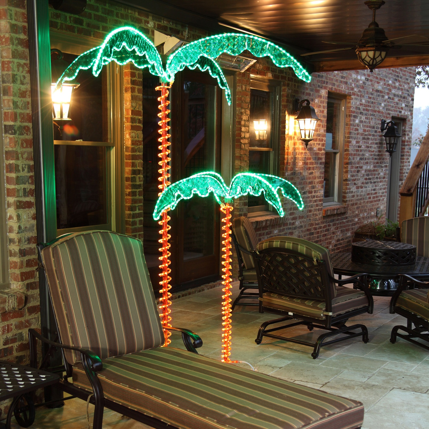 Deluxe Rope Light LED Lighted Palm Tree with Green Canopy - Yard Envy