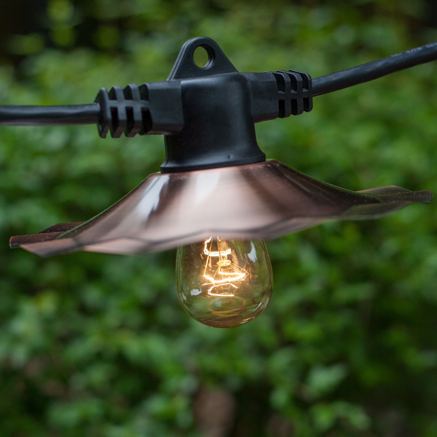 Commercial Patio Light String E26 Medium Sockets Includes Copper Shadesblack Wire Yard Envy