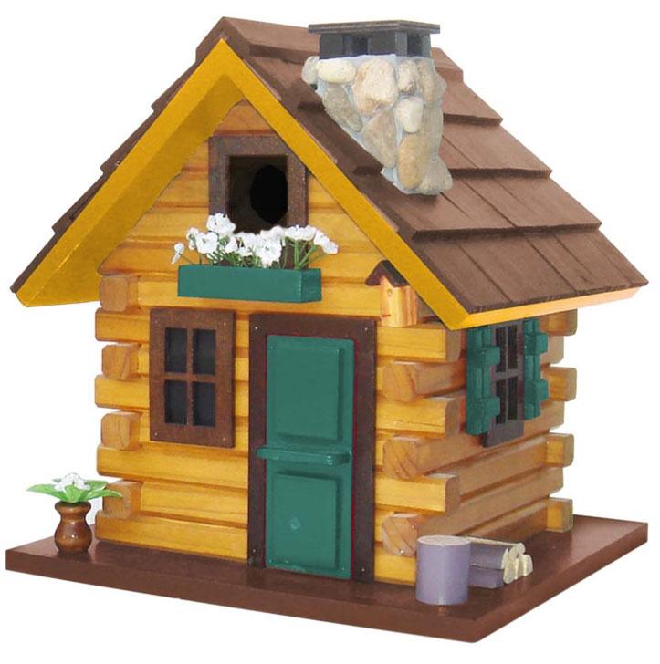 Country Comfort Rustic Log Cabin Hanging Bird House Yard