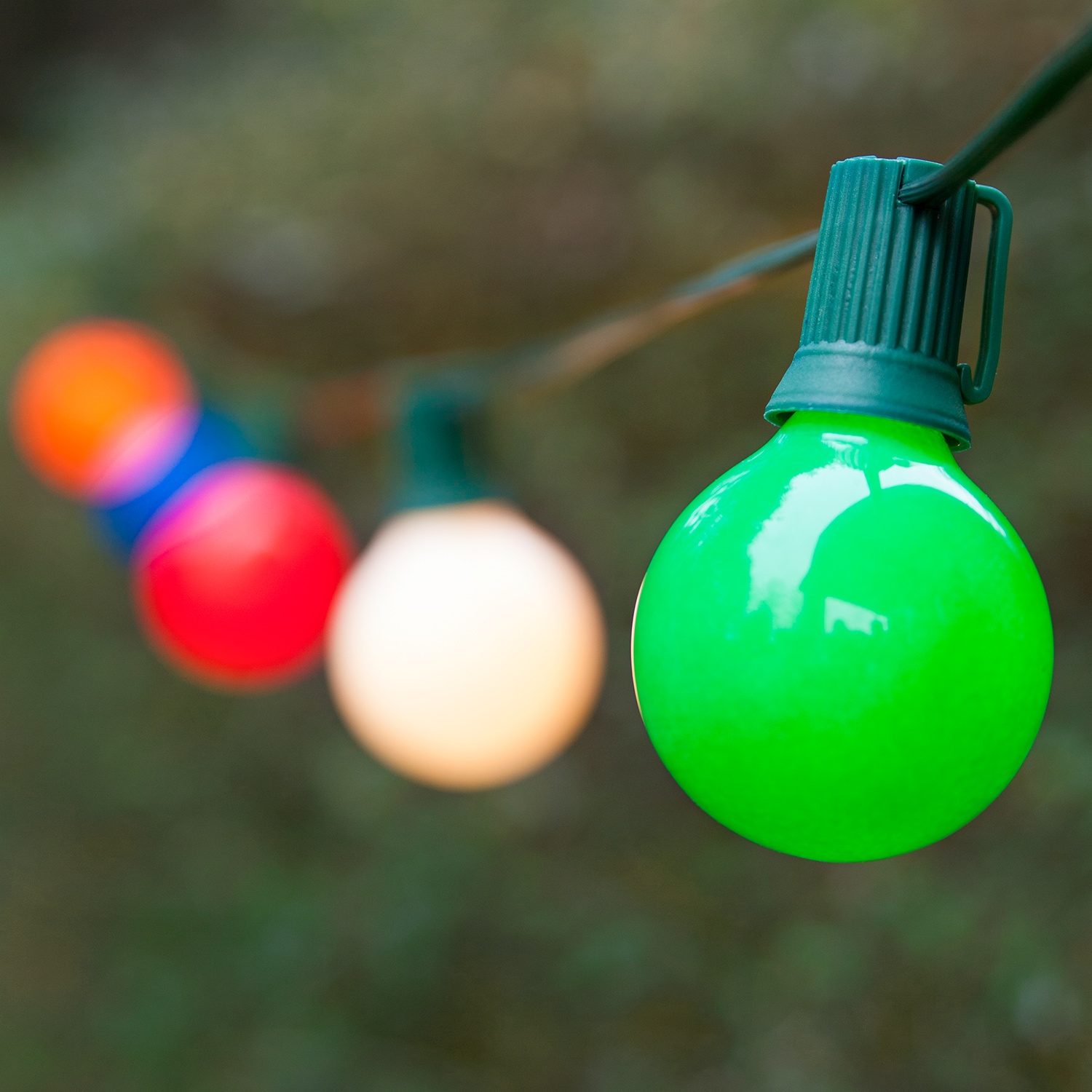 Globe String Lights, Opaque Multicolor G50 Bulbs, Green Wire - Yard Envy