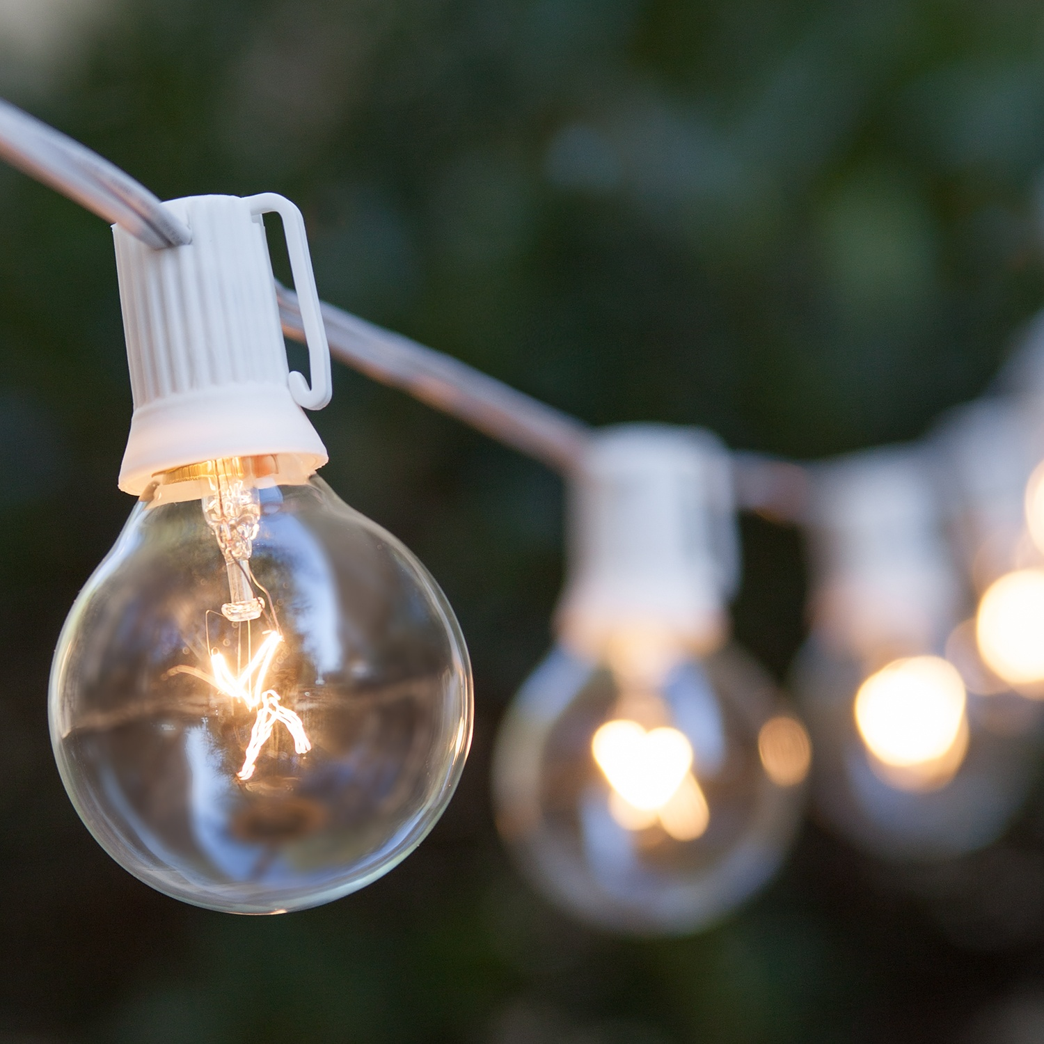 Outdoor String Lights Guide Wire: Globe String Lights, Clear G50 Bulbs, White Wire