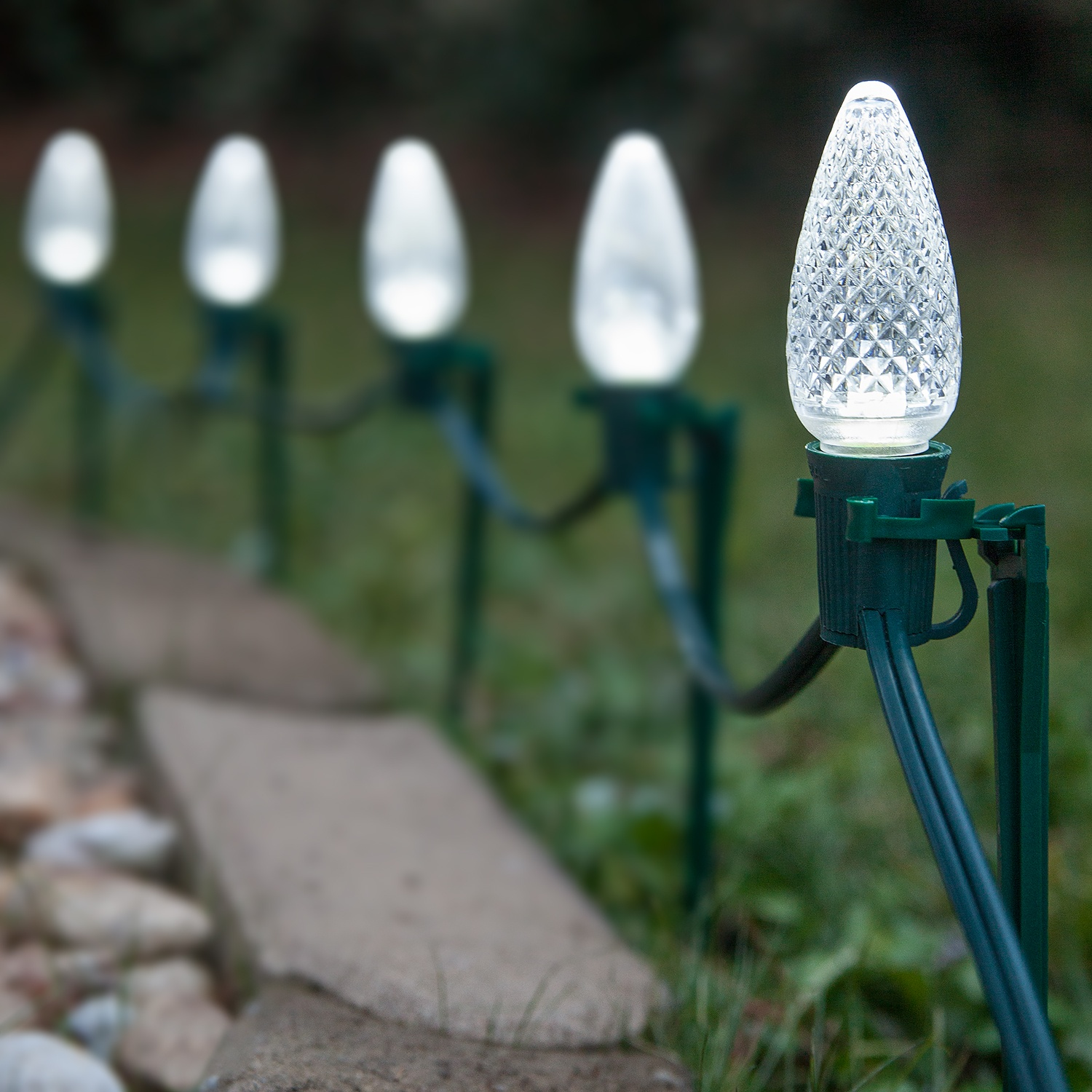 C9 Led Pathway Lights Cool White 7 5 Stakes Yard Envy