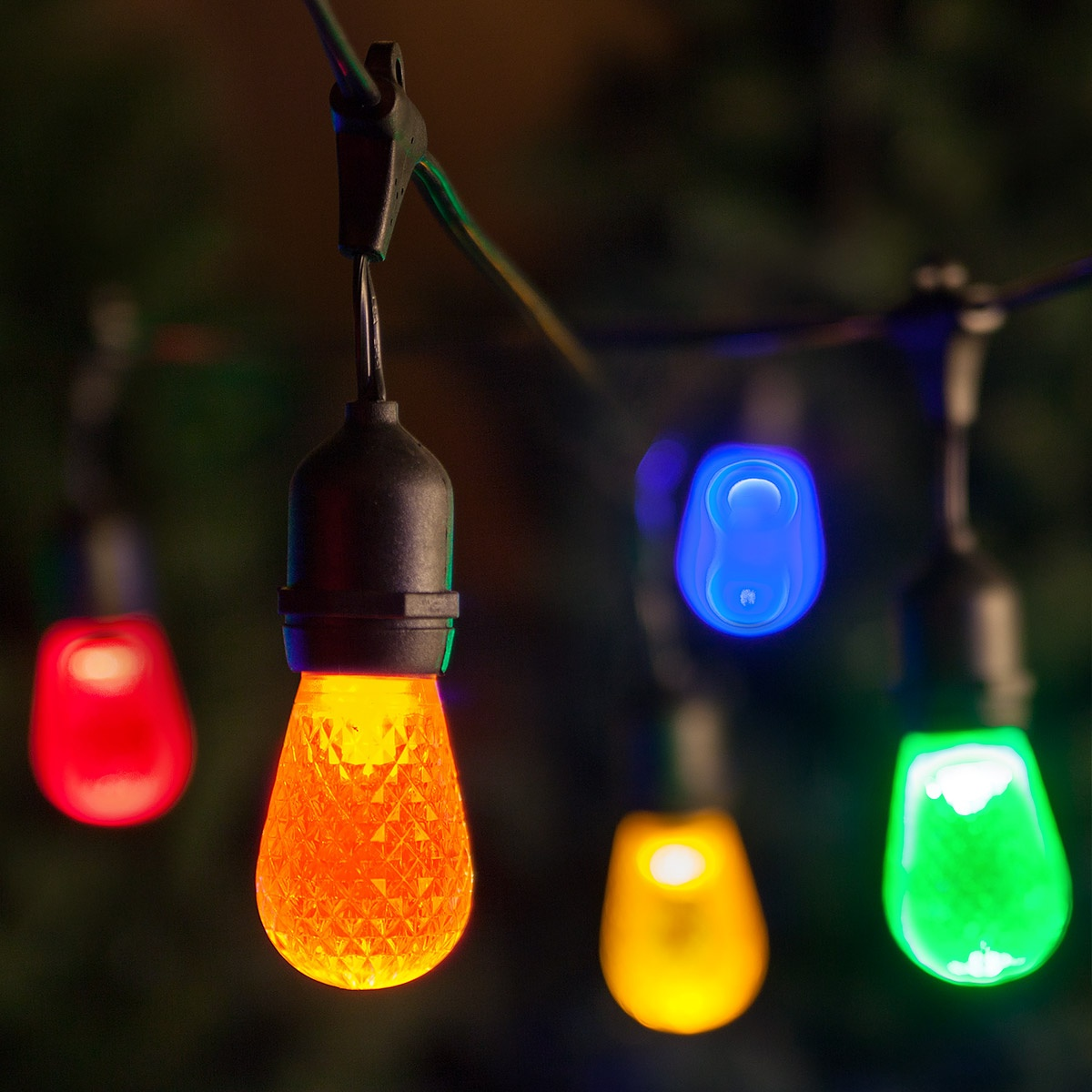 Commercial Patio String Lights, Multicolor S14 LED Bulbs