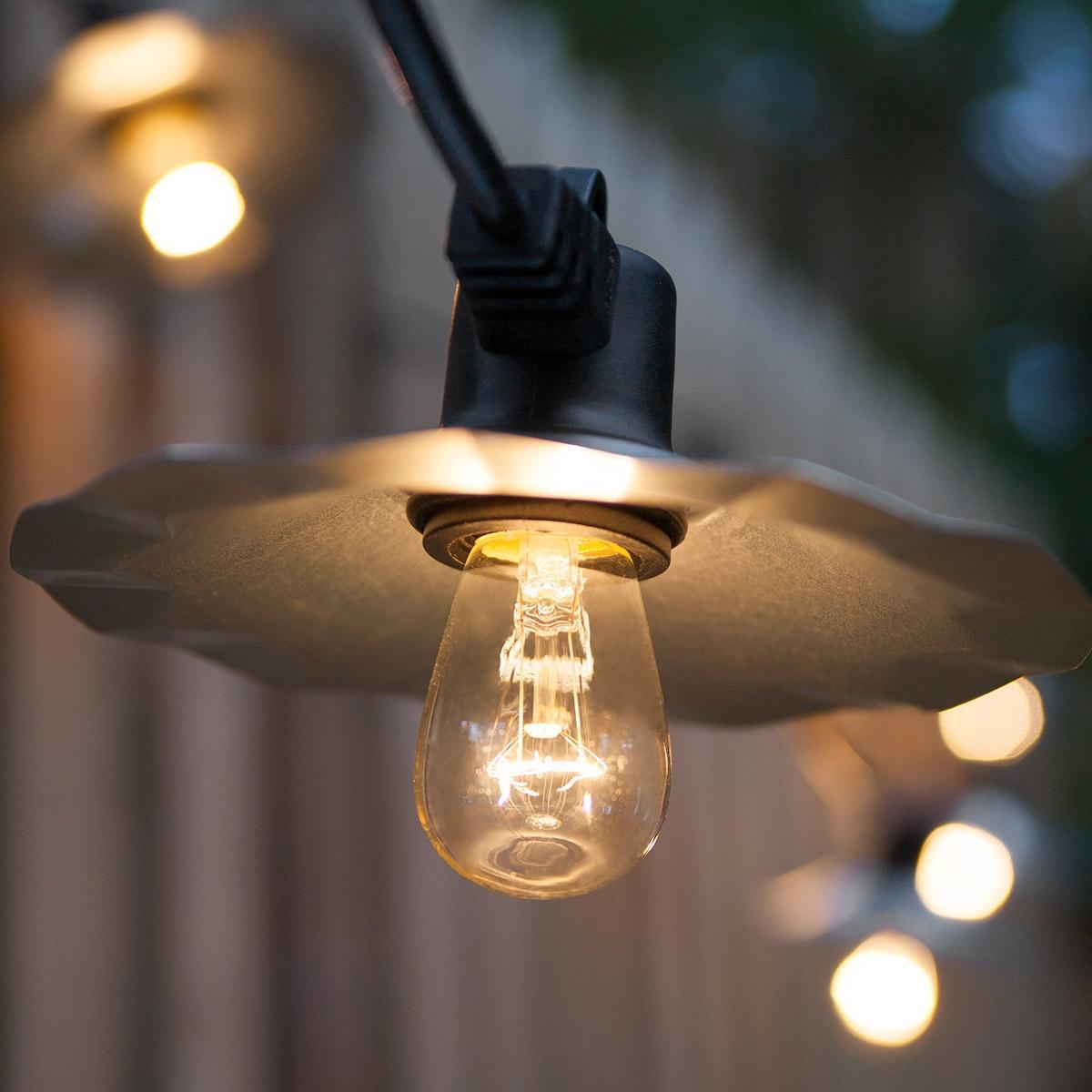 Cafe String Lights, Clear S14 Bulbs, Silver Shades - Yard Envy