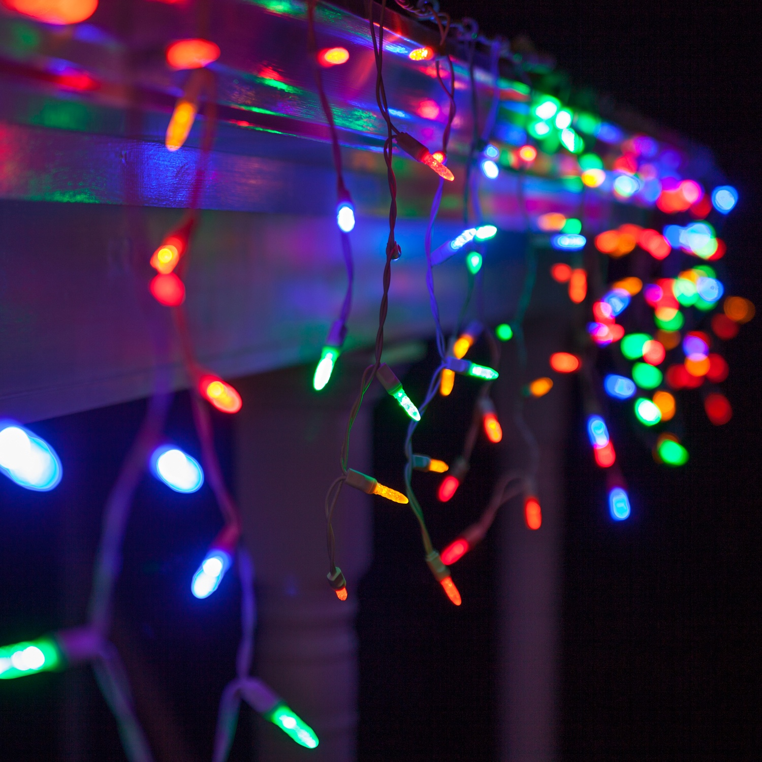 70 M5 Led Icicle Lights Multicolor White Wire Yard Envy