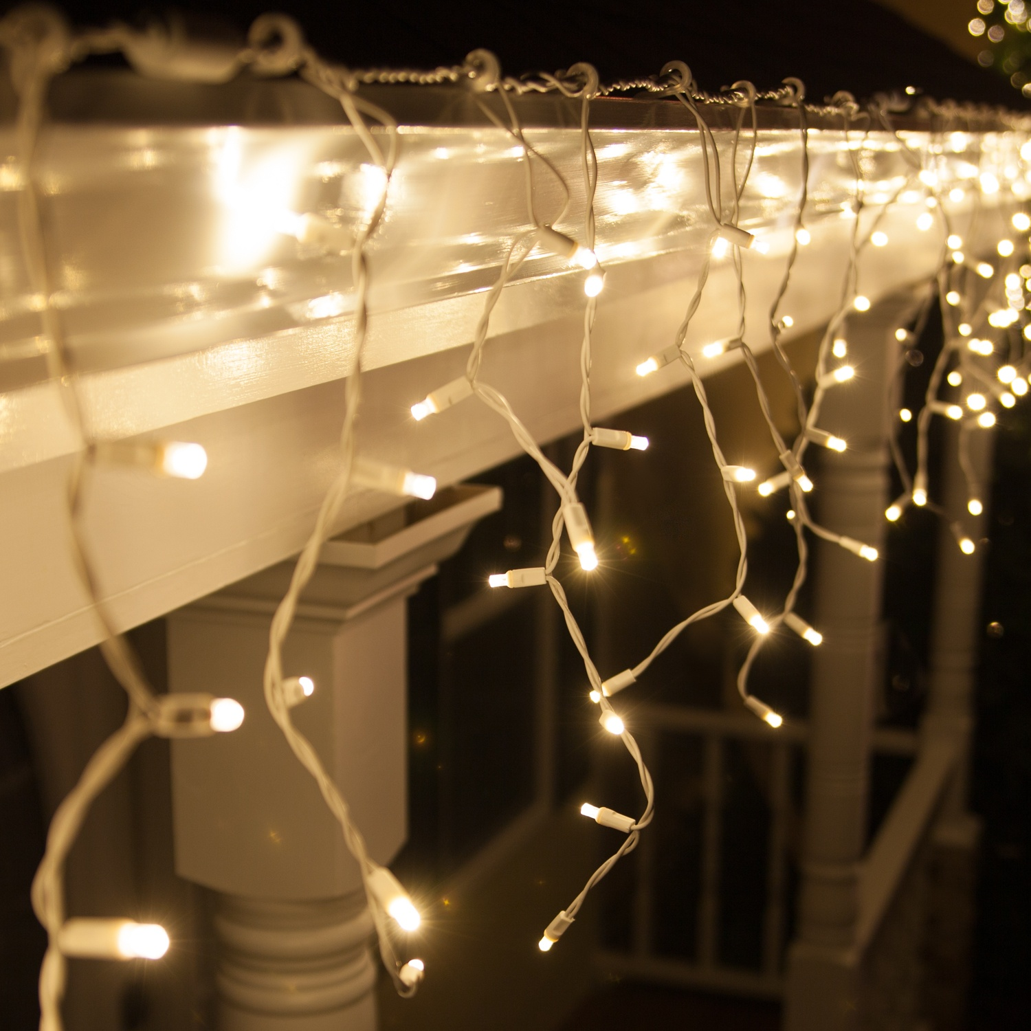 70 5mm led icicle lights warm white white wire yard envy for White twinkle christmas lights