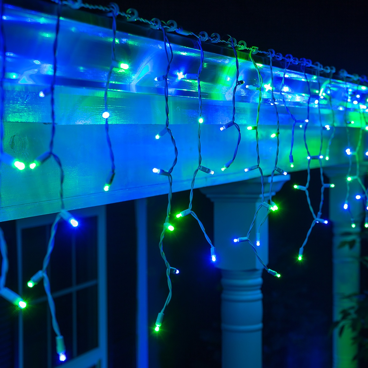 70 5mm led icicle lights bluegreen white wire yard envy