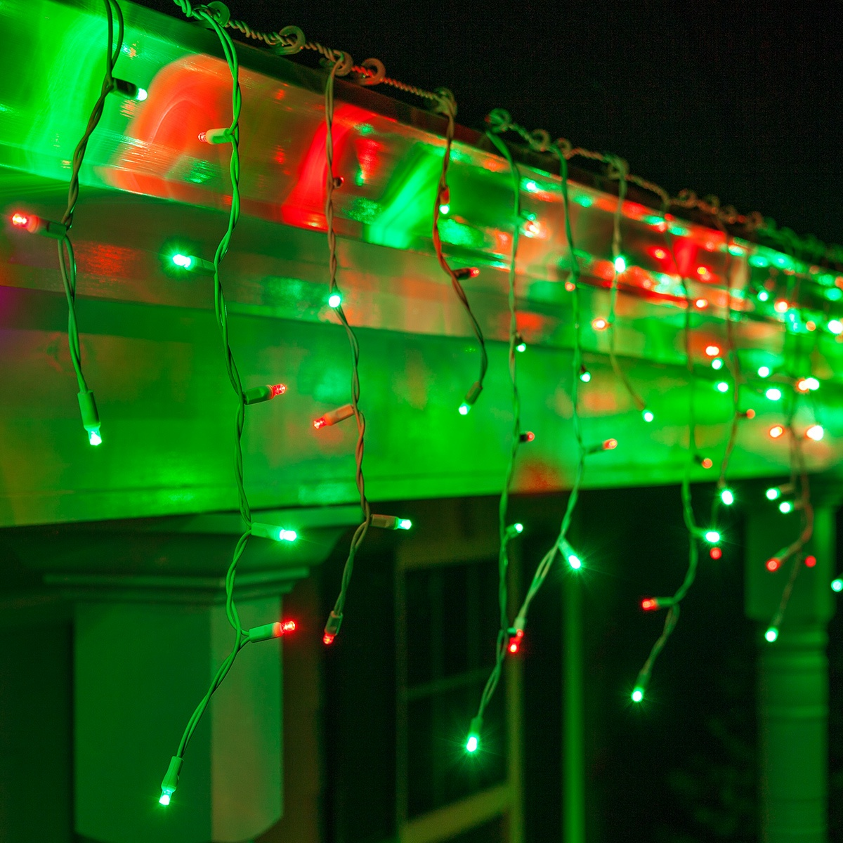 70 5mm Led Icicle Lights Red Green White Wire Yard Envy
