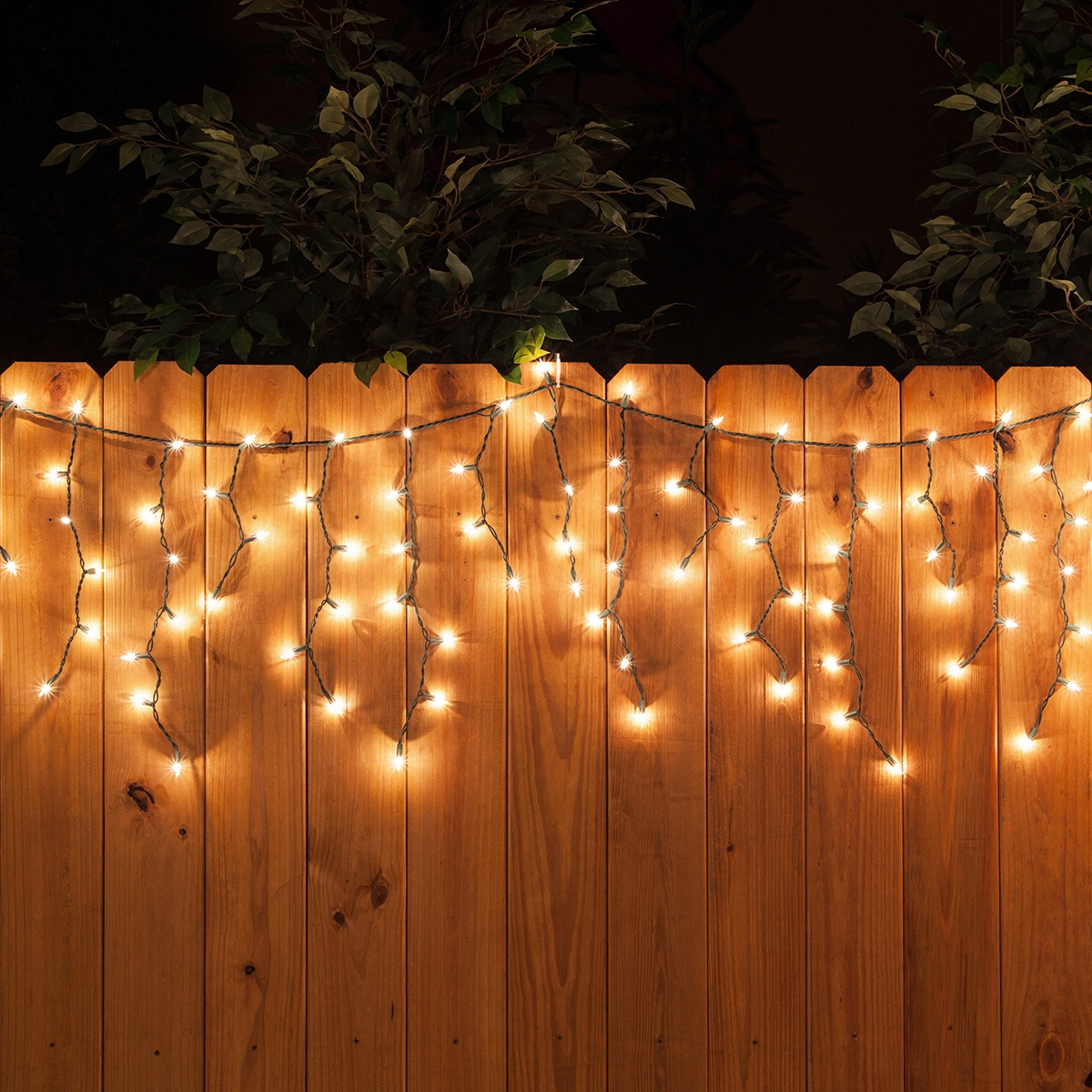 Wonderful Christmas Lights Clear Wire #2: Clear-Mini-Icicle-Lights-Green-Wire-Fence-7402.jpg