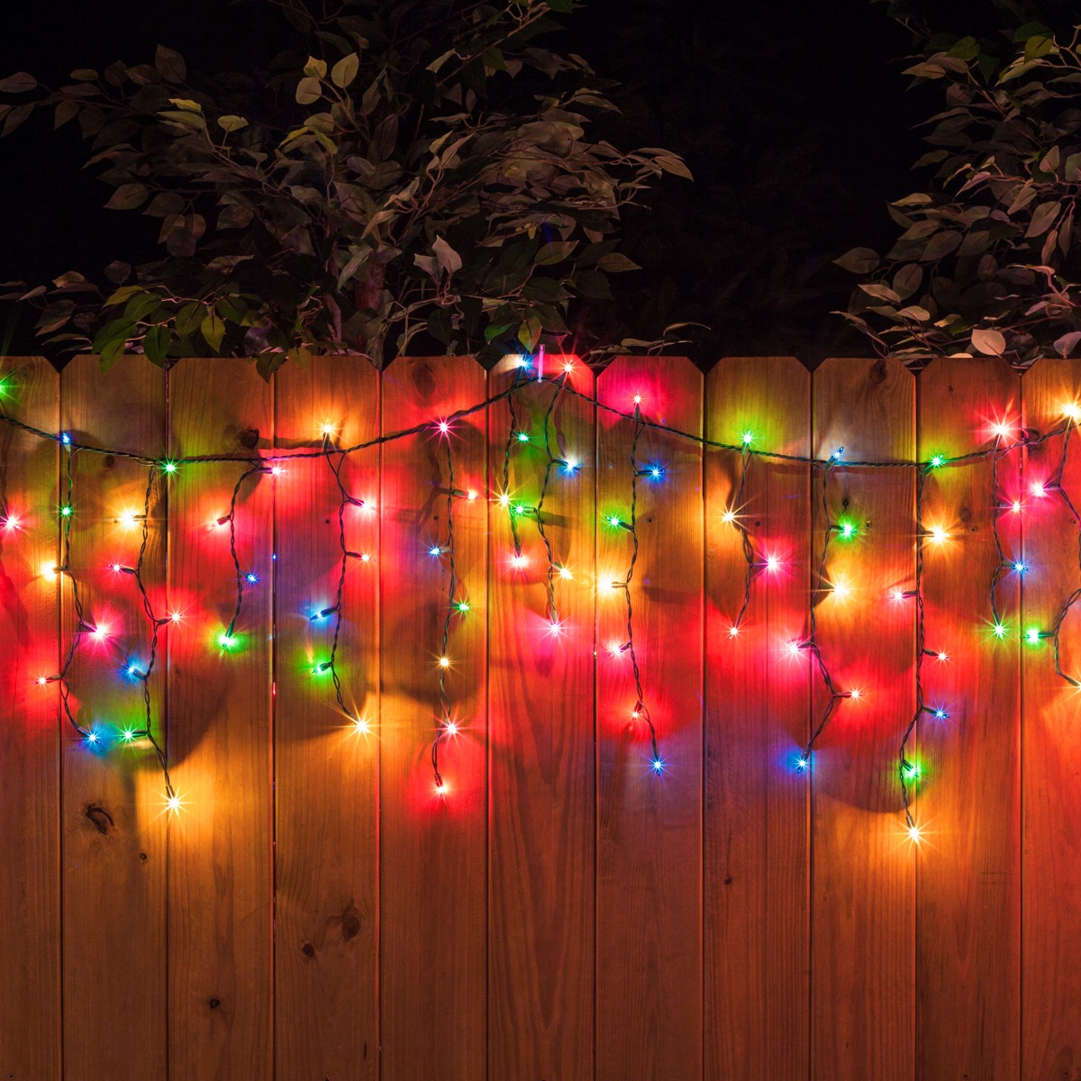 150 Icicle Lights Multicolor Green Wire Yard Envy