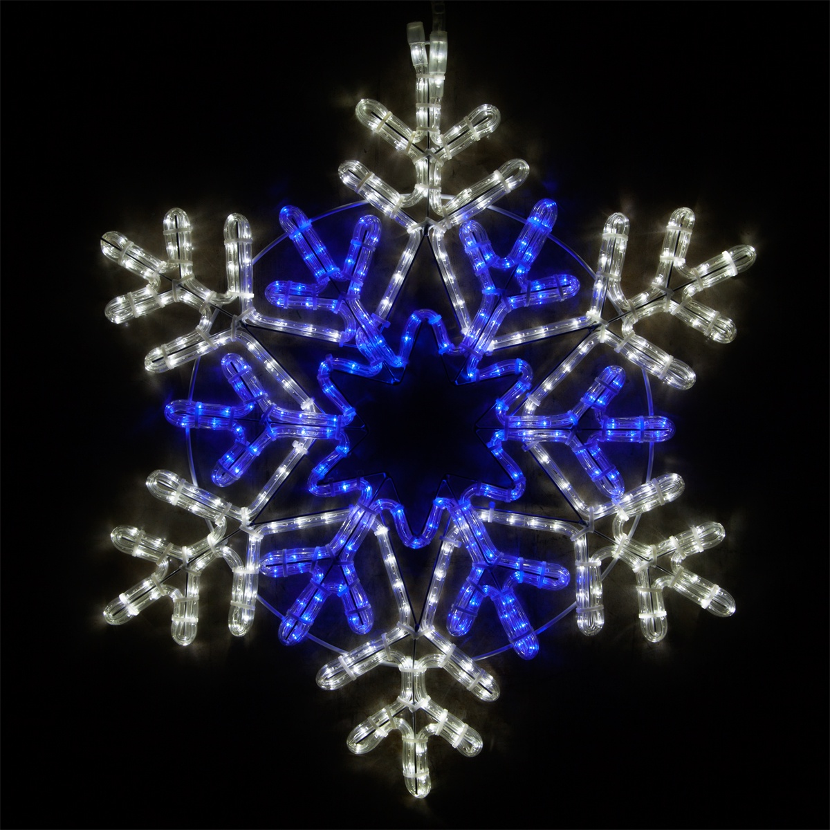 Led 48 Point Star Center Snowflake Blue And Cool White