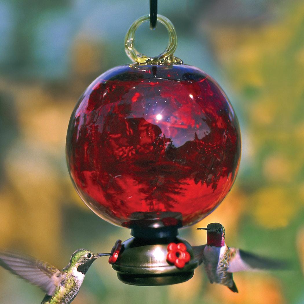 Red Dew Drop Glass Hummingbird Feeder Yard Envy