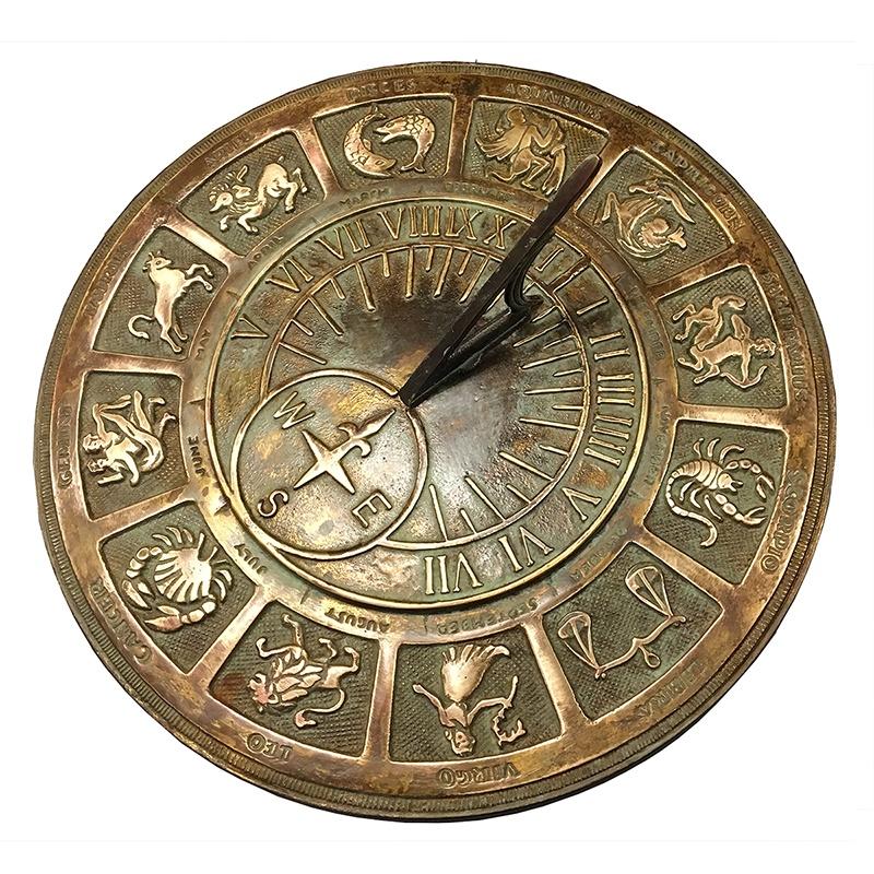 Old World Zodiac Brass Garden Sundial Yard Envy