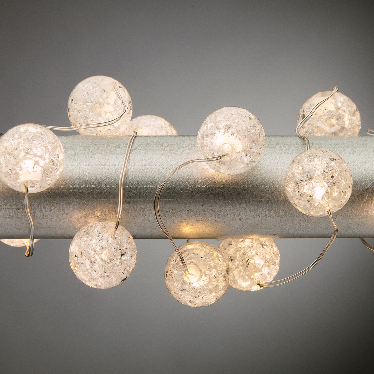 10' Crackle Bead LED Fairy Lights, Warm White, Silver Wire ...