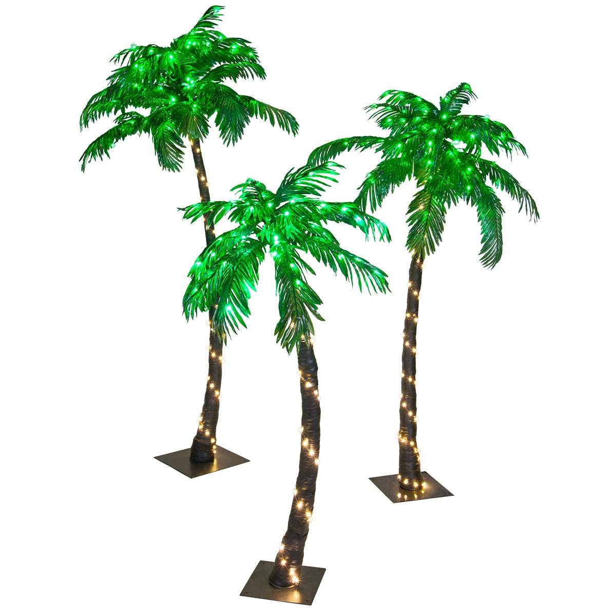 Curved LED Lighted Palm Tree with Green Canopy - Yard Envy