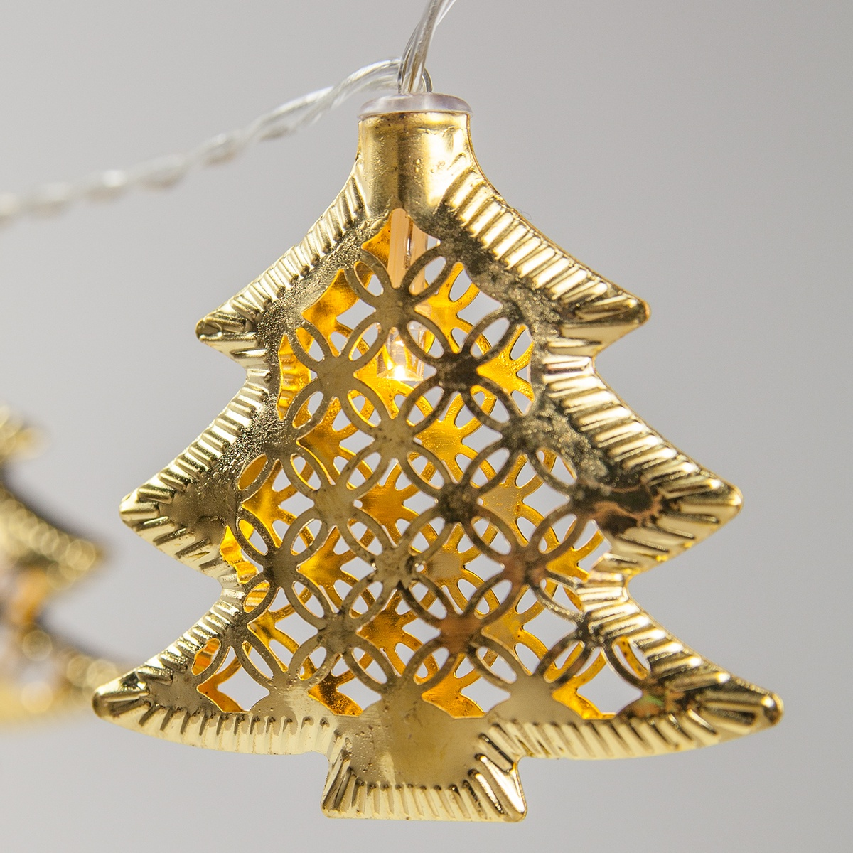 Battery Operated Led Golden Metal Christmas Tree String