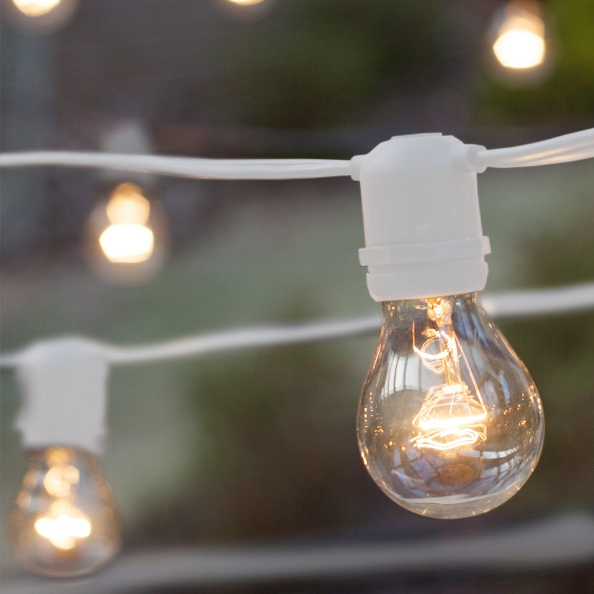 Commercial Patio String Lights, Clear A19 Bulbs, White Wire - Yard Envy