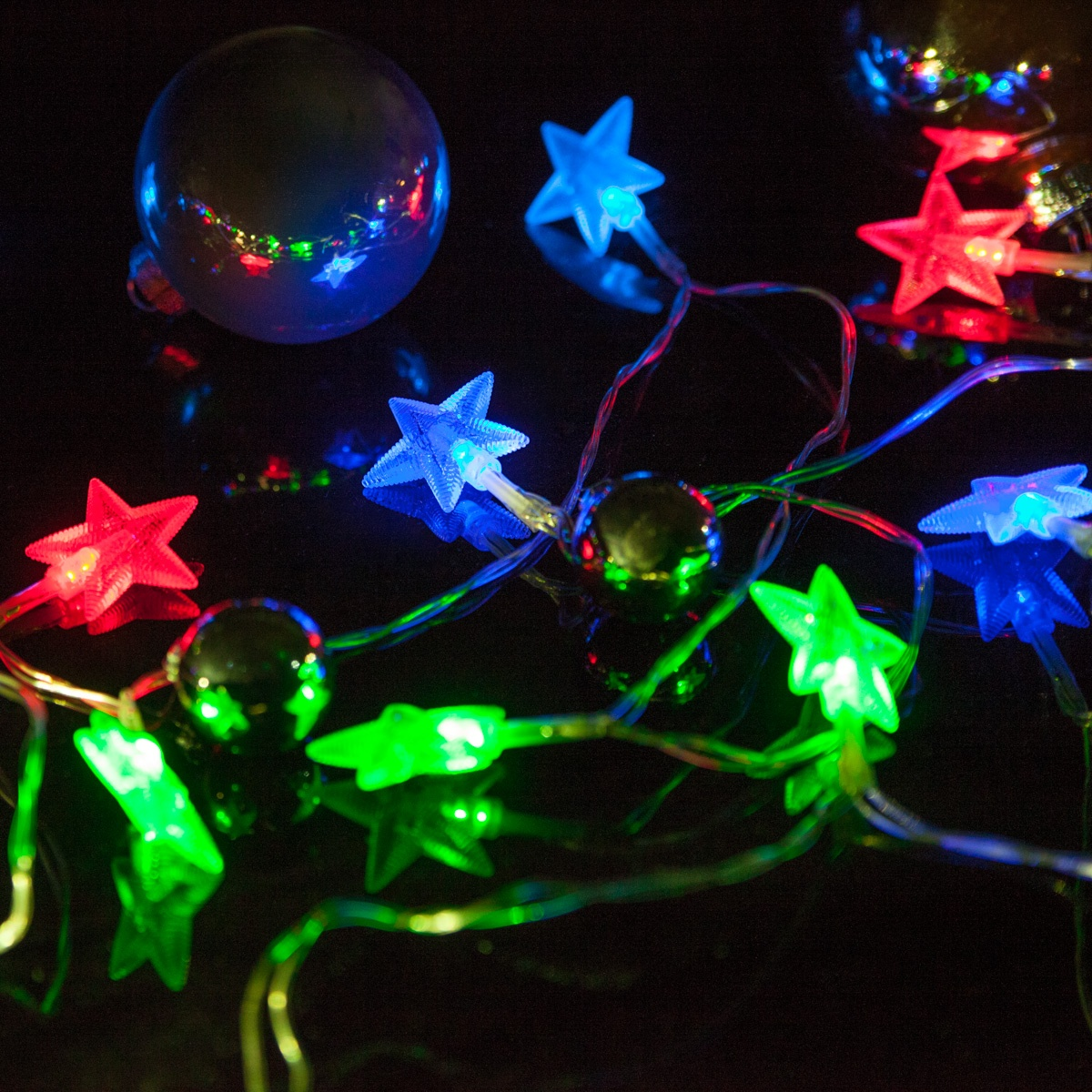 Battery Operated Led Star Lights String Lights 10 Red