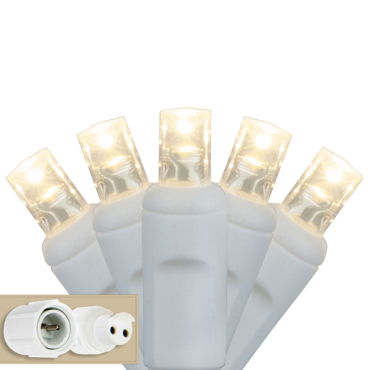 5mm Commercial LED String Lights, Warm White, White Wire - Yard Envy