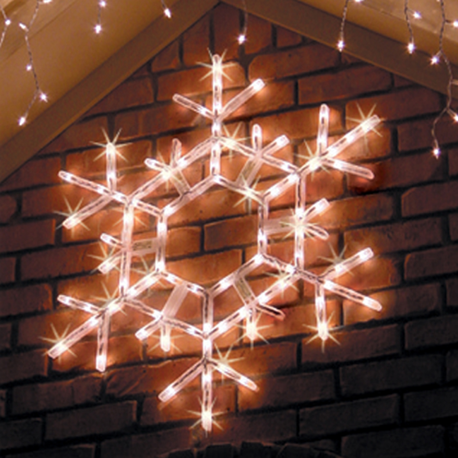 Christmas Decorations Outdoor Star : Lighted snowflakes stars yard envy