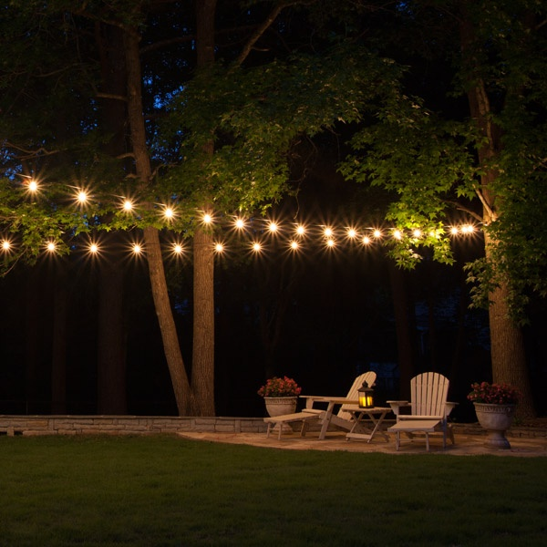 Patio string lights yard envy for How to hang string lights without trees
